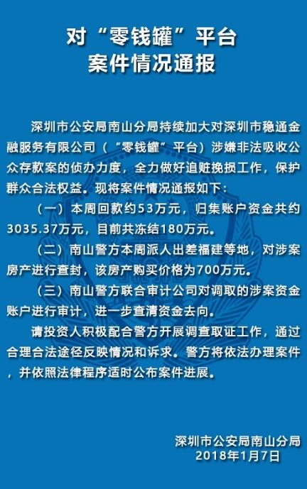 警方通报:投之家涉案嫌疑人被审查起诉 本周共计回款591万元2