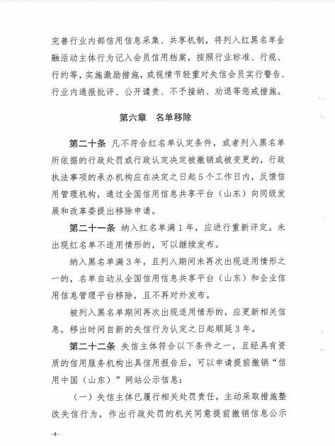 山东省地方金融组织红黑名单管理办法(试行)8