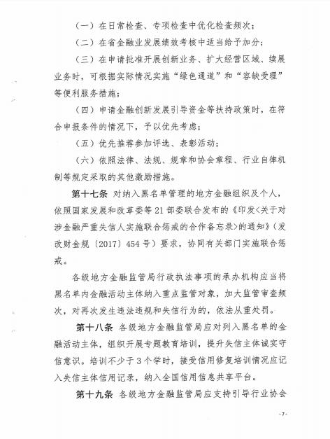 山东省地方金融组织红黑名单管理办法(试行)7